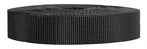 Strapworks Heavyweight Polypropylene Webbing - Heavy Duty Poly Strapping for Outdoor DIY Gear Repair, 1 Inch x 50 Yards - Black