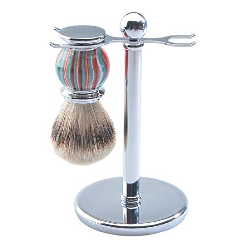 CSB Men's Shaving Set, Silvertip Badger Hair Shaving Brush, Shaving Stand, (Silvertip Badger Shaving Set)