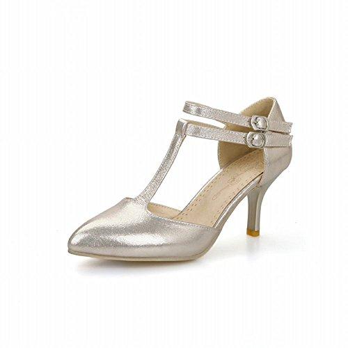 Shoes Stiletto moda Tacón oro estilo Carol Nuevo Sandalias de Vestido de Correa alto T para mujer BSzndA