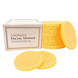 100% Natural Cellulose Compressed Facial Sponges – 50 Count