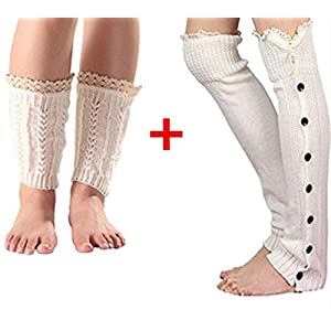 2 Pair Leg Warmers for Boots Crochet Boot Cuffs Womens Knitted Button Lace Boots Socks (white)