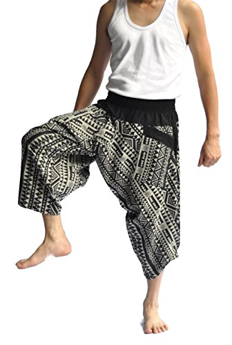 Siam Trendy Men's Japanese Style Pants One Size Black Triangle design by Siam Trendy