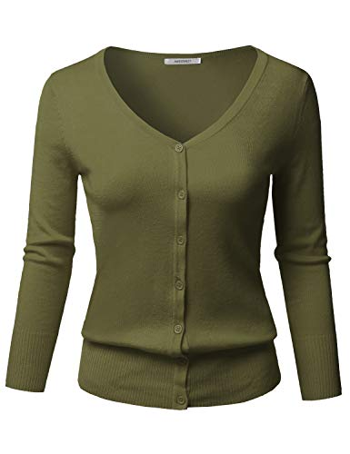 (Solid Button Down V-Neck 3/4 Sleeves Knit Cardigan Olive)