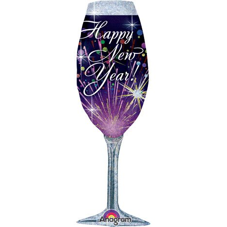 Supershape Happy New Year - Champagne Glass Foil Balloon