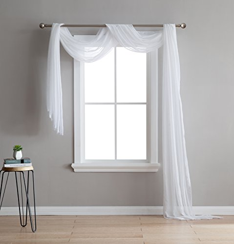 "Karina - Semi-Sheer Window Scarf (54 x 144) - Elegant Home Decor Window Treatments - Add to Window Curtains for Enhanced Effect (1 Scarf 54"" x 144"", White)"