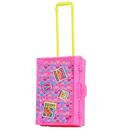 Lanlan 1PCS Pink Plastic Simulation Mini Travel Case Suitcase Storage For Barbie Doll House Accessories Kids Birthday Christmas Gift (Bike Travel Suitcase)