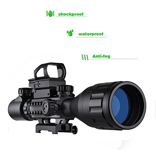 Review AR15 Tactical Rifle Scope Combo C4-16x50EG Hunting Dual Illuminated with Red Laser sight 4 Holographic Reticle Red/Green Dot for 22&11mm Weaver/Picatinny Rail Mount (Updated 4-16x50EG Green Laser)
