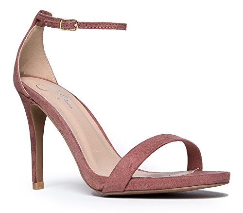 J. Adams Aria Ankle Strap High Heel, Mauve Suede, 7 B(M) US (Slip Sandals Suede)