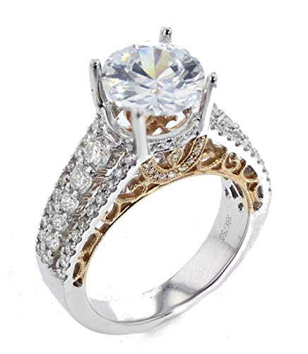 - Diamond Semi Mount Ring Setting 18K White Gold and Rose Gold-Tone 1.20ctw Fits 2ct Solitaire