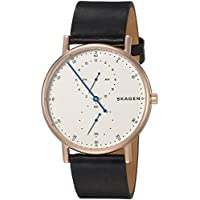 Skagen Men's 'Signatur' Quartz Stainless Steel and Leather Casual Watch, Color:Black (Model: SKW6390)