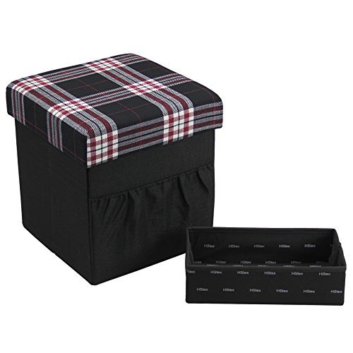 HStex Folding Storage Ottoman Cube with Wooden Tray,Linen Fabric,Black,15