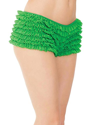 Coquette Women's Plus Size Elegant Ruffle Shorts With Back Bow Detail Green Queen Detail Bow