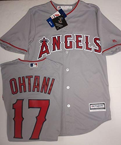 OHTANI Angels Road Grey Cool Base Jersey Large Mens Majestic