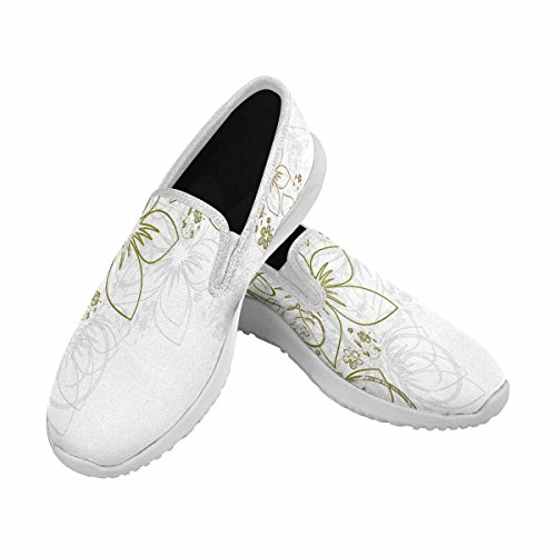 VIC Women Flat Canvas Shoes Fashion Sneaker with Padded Insole White