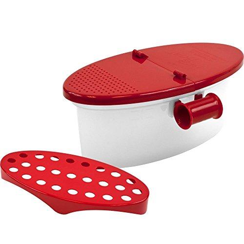 Time Roaming Versa Microwave Pasta Boat, Sturdy Food Grade Heat Resistant PP Material, Pasta Cooker Vegetable Steamer Boat Strainer