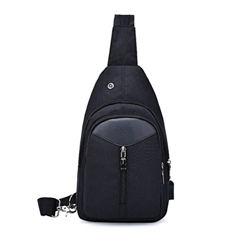 Shoulder Sling Women With Men For Black Packs Triangle Mingmo Backpack Usb Bag Port Chest Oxford Cloth Crossbody Charging dtnwwRqv4