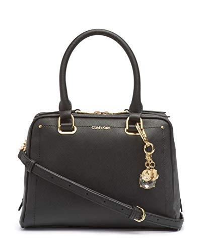 Calvin Klein Marybelle Saffiano Leather Top Zip Satchel, Black/Gold