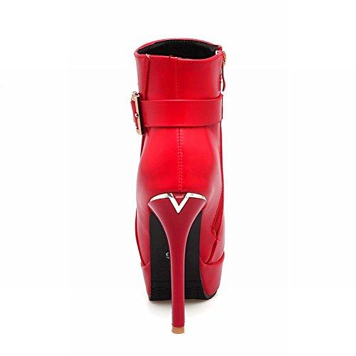 Latasa Womens Monk-strap Platform Stiletto High Heels Booties Red s4GPrN