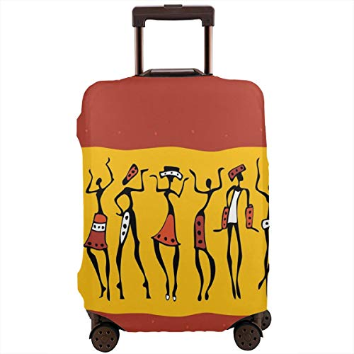 (Travel Luggage Cover,Dancing Figures Abstract Tribal Ancient Wall Paint Indigenous Culture Suitcase Protector)