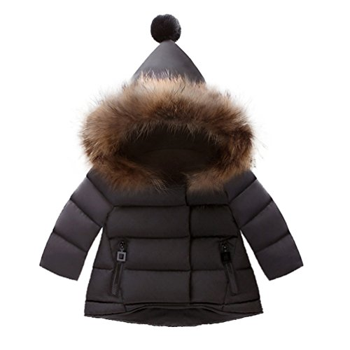 Price comparison product image AOWEER Girls Faux Fur Hooded Puffer Jackets Coats Warm Down Snow Coat Winter # Black 90