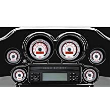 Dakota Digital MXV Two-Gauge Black Bezel Set - White/Red MVX-8204-WR-K