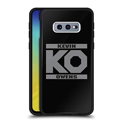 Official WWE KO Fight Kevin Owens Black Hybrid Glass Back Case Compatible for Samsung Galaxy S10e ()