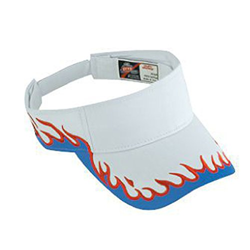 (Product of Ottocap Flame Pattern Cotton Twill Sun Visor -Wht/RYL/Red [Wholesale Price on Bulk])