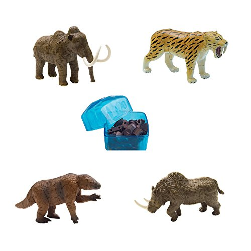 Wooly Rhino - Assorted 4pcs/Set of Ukenn 3D Ice Age Animal Puzzles DIY Woolly Mammoth Megatherium Smilodon Woolly Rhino Models Kids Educational Toy 3366