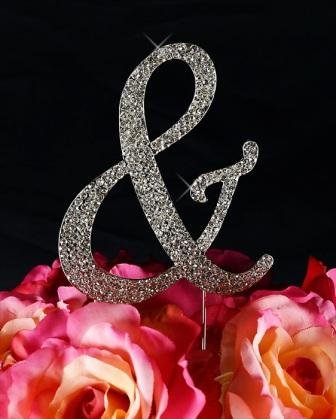 Unik Occasions Sparkling Collection Crystal Rhinestone Monogram Cake Topper - Ampersand, Large, Silver