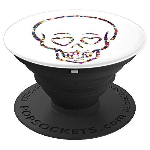 Skeleton or Skull with Heart Shaped Eyes Halloween Gift - PopSockets Grip and Stand for Phones and Tablets -