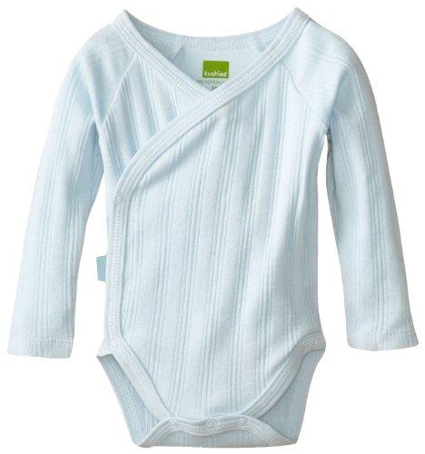 Kushies Unisexbaby Newborn Everyday Mocha Layette Wrap Long Sleeve Bodysuit, Blue, 6 Months