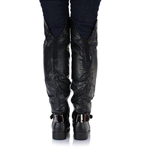 F1944A - Bottes hauteur genou avec talon compensé caché - femme - noir