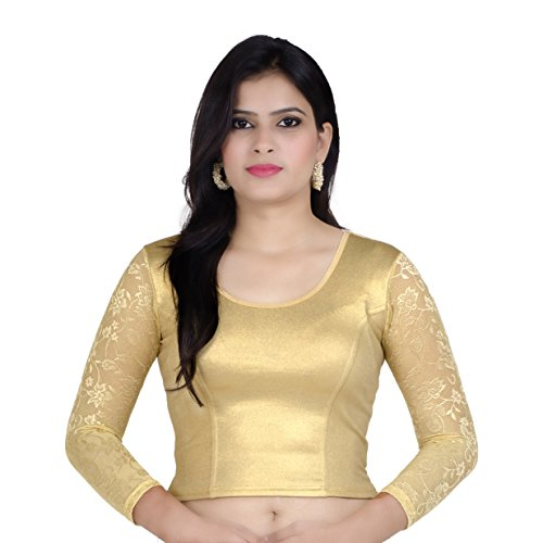 Chandrakala Women's Stretchable Readymade Gold Saree Blouse Crop Top Choli (B101GOL) by Chandrakala