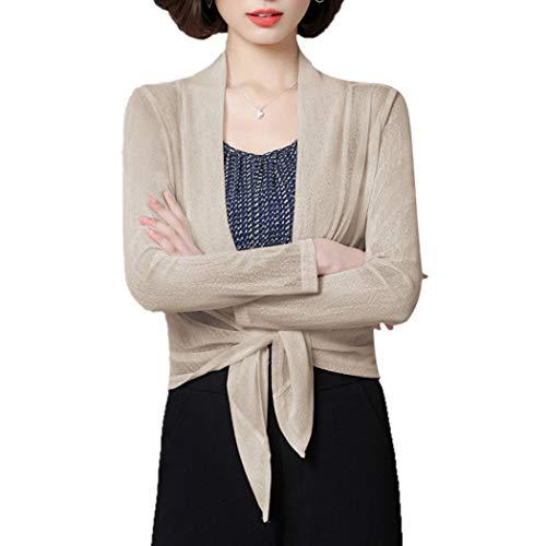Women's Plus Size Long Sleeve Sheer Lightweight Soft Cardigan Shrug Open Tie Front Bolero