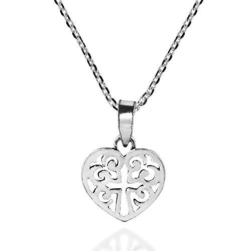 AeraVida Mini Open Heart with Cross Fleur de Lis Swirl .925 Sterling Silver Necklace