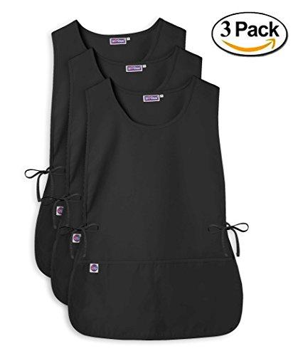 Sivvan Unisex Cobbler Apron - Adjustable Waist Ties, 2 Deep front pockets (3 Pack) - Black - (Deep Front Pocket)