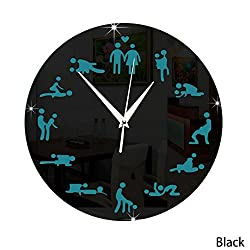 DIY Creative Sex Pattern Acrylic Mirror Wall Clock Wall Stickers 3D (Black)