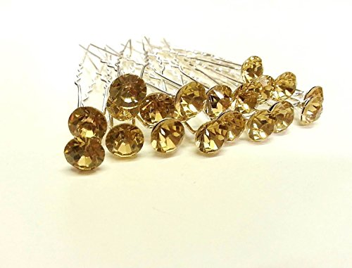 Glass Rhinestone Pin (CraftbuddyUS 20 Champagne 8mm Glass Crystal Rhinestone Diamante Wedding Bridal Prom Hair Pin)