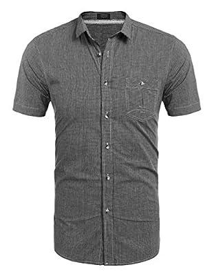 COOFANDY Men's Plaid Button Down Shirt Short Sleeve Slim Fit Casual Patchwork Contrast Color Camo Dress Shirt