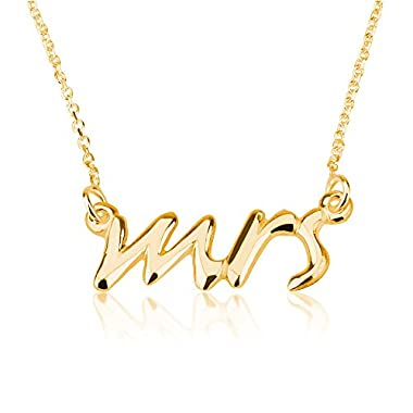 Mrs. Necklace  Say Yes  Necklace Mrs. Pendant-925 Sterling Silver Plated in 18k Gold (20 Inches)