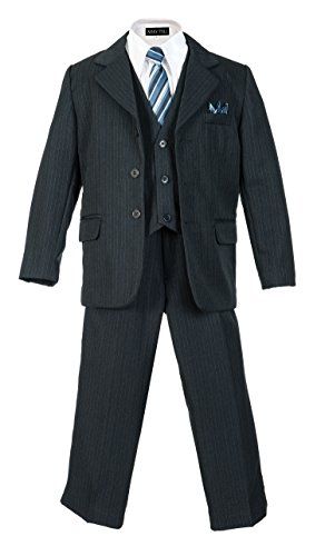 (Boys Pinstripe Suit Set with Matching Tie NB 10)