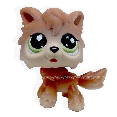 Bambi Costume Ebay (LHJ #2141 Rare Littlest Pet Shop Wolf Brown Tan Husky Timberwolf Green Eyes Dog LPS)
