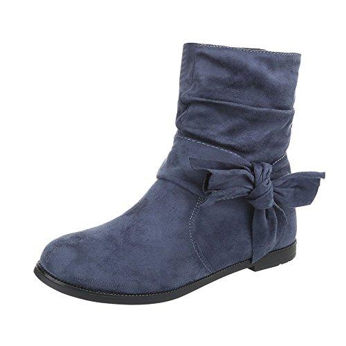 Stiefel & Boots Kinderschuhe Klassischer Stiefel Blockabsatz Mädchen Reißverschluss Ital-Design Stiefeletten Dunkelblau