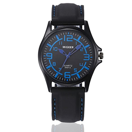 - Nikuya Men Quartz Hours Wrist Analog Watch Fashion Silicone strap Sport Cool Watch (Blue)
