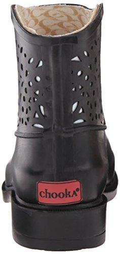 Chooka Black Fashion botín Mujer Rain para Bootie Laser Cut xx7wrTH