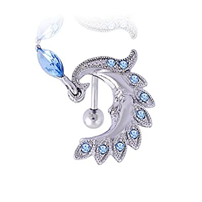 6e8c96db230c Acero quirúrgico joyas moda pluma de pavo real Belly Ring: Amazon.es ...