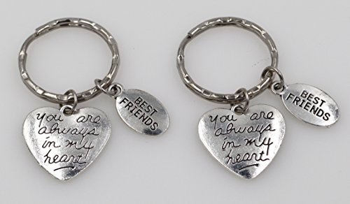 - 2 Keychain Set: You are Always in My Heart and Best Friend Keychains