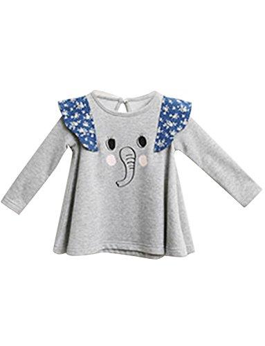 Tom's Ware Little Girls Elephant Rongti Longsleeve T-shirts TWBE15TS07-GRAY-No. 90 (3-4 Years)