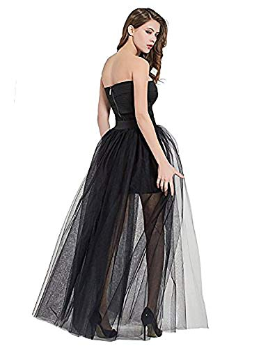Sexy Women's Mesh 4 Layers Overlay Long Tulle Skirt Floor Length Wedding Party Tutu Skirt Party Train Overskirt Black