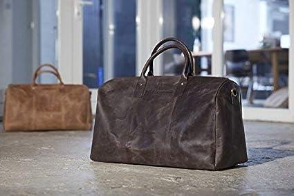 L - Premium Weekender Reisetasche Camel-braun HOLZRICHTER Berlin No 13-1 Sporttasche und Handgep/äck aus Leder